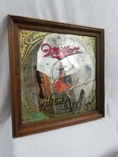 Miller High Life 18x18 Wood Framed Bar Sign Mirror VTG 1984 Moon Man Cave