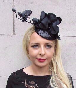 Black Sequin Orchid Flower Fascinator Hat Races Sequinned Clip Wedding Clip 3413