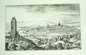 Amberg-alte-Ansicht-Merian-Druck-1940-Bannstadt-Staedteansicht
