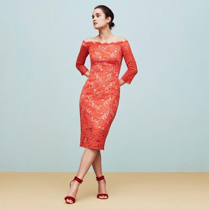 Coast Yasmin orange Lace Bardot Dress New