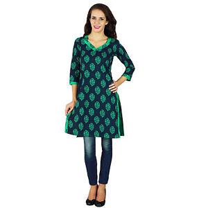 Indien-Designer-Frauen-Baumwolle-Ethnischen-Kurti-Kurta-Top-Tunika-Kleid-Bluse