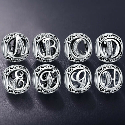 Authentic Charm Sterling Silver All Alphabet Letters Bangle Brace Charms Beads