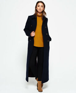 Womens Superdry Long Coat Bridge New Navy Super 7Uwd8