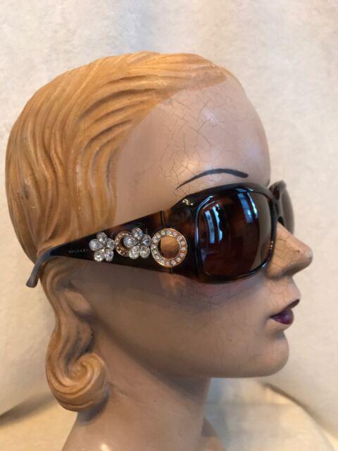ccf76b0703c Bvlgari Brown Tortoise Frame Flower Rhinestone Sunglasses Model 857 ...