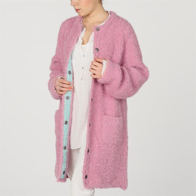 ELA RECK ITALY kastiger Bouclé Strick Mantel Jacke Samt Borde Wolle PINK rosa