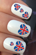 NAIL ART SET #337. x24 UNION JACK FLAG HEART WATER TRANSFERS DECALS STICKERS