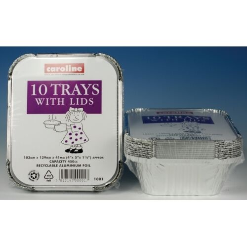 Caroline Disposable 10 x 16oz Foil Tray With Lids 103 x 129 x 41mm CA1001