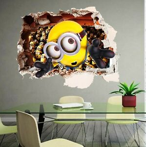 D Minion DESPICABLE ME Wall Sticker Decal Art Kids Nursery Paper - Minion wall decals