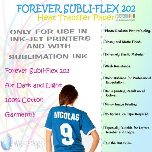 Papel De Transferencia Sublimación de algodón para siempre Subli Flex 202
