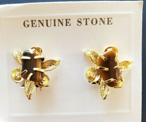 Stone Earrings Genuine Stone Onyx Clip On Earrings Vintage Clip On Plated Earrings Square Onyx Esrrings Gold Plated NOS Clip Ons
