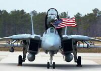 NAVY F-14 TOMCAT JET WITH AMERICAN FLAG 8X10 PHOTO