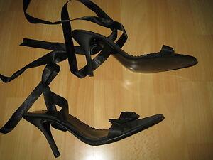 Sandales satin noir talons hauts petit noeud et laage cheville P 43 UK9