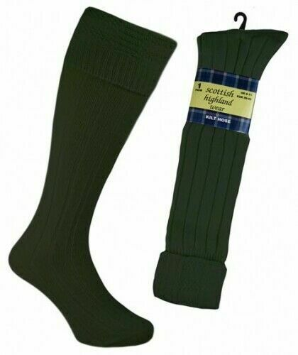 1-3 Pairs Mens Wool Scottish Highland Long Hose Kilt Socks BLACK CREAM GREEN