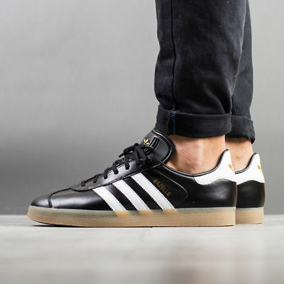 Adidas Originals Gazelle Premium Black Leather GOLD GUM Brown White Men 10 Shoes   eBay