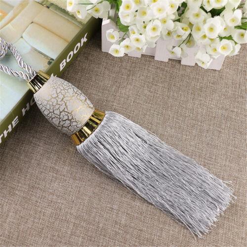 1 Pair Curtain Holdbacks Beaded Braided Rope /& Tassels Tiebacks Home Decor