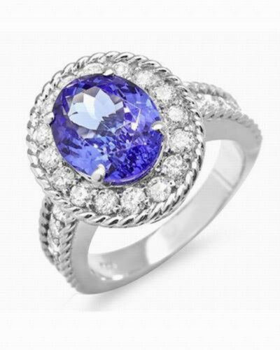 2.10 Carat 925 Sterling Silver Natural Blue Tanzanite Oval Shape Engagement Ring