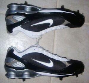 on sale bce55 c97f0 Image is loading NIKE-Shox-Fuse-Black-White-Metal-Spikes-Baseball-
