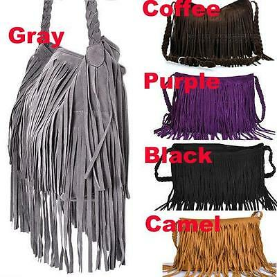 Celebrity Tassel Fringe Shoulder Messenger Handbag Cross Body Bag 5 Colors #ASM