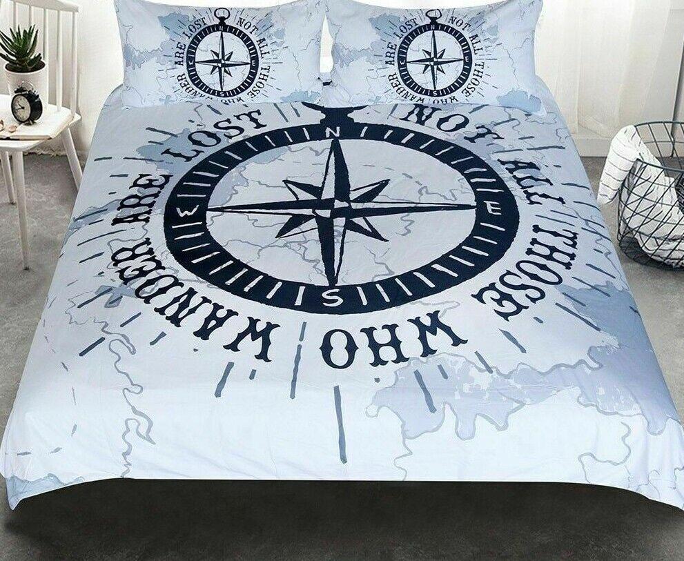 Bedclothes Home Textiles Set Nautical Map Compass Microfiber Fabric Duvet Covers