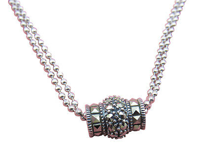 Judith Jack Sterling Silver Necklace Barrel Pendant Marcasite 16 inch Chain 815g