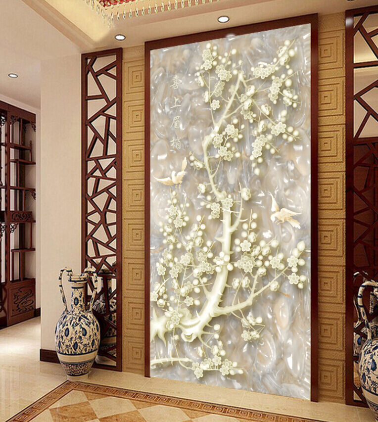 3D Jade Carving Flower 2 Paper Wall Print Decal Wall Wall Murals AJ WALLPAPER GB