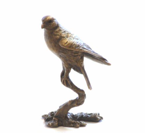 2057 Falcon Hawk Bird of prey  Solid Bronze Miniature Sculpture Boxed