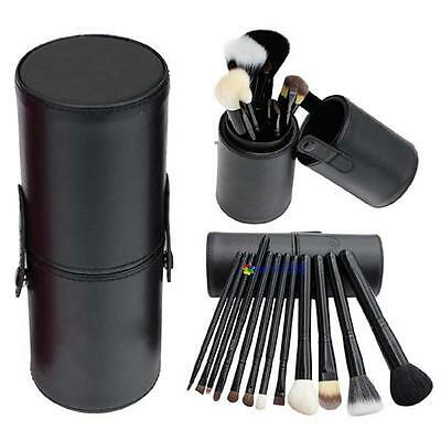 12pcs Pro Cosmetic Makeup Brush Set Make up Tool+Leather Cup Holder Kits Blac MO