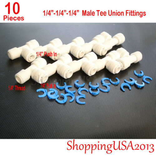 """10 Pieces 1//4/""""-1//4/""""-1//4/"""" Male Tee Union Fitting Thread Push In Quick Connect RO"""