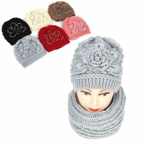 4b09502060b Womens Winter Knitted Hat Scarf Set Rhinestones Flower Design Woolen ...