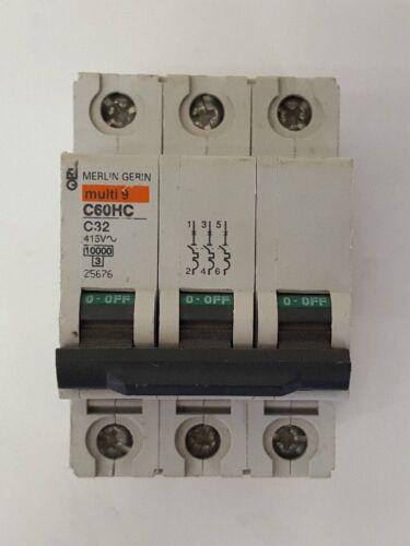SCHNEIDER MERLIN GERIN 32 AMP C TYPE MCB C60HC332 TO CLEAR JL47