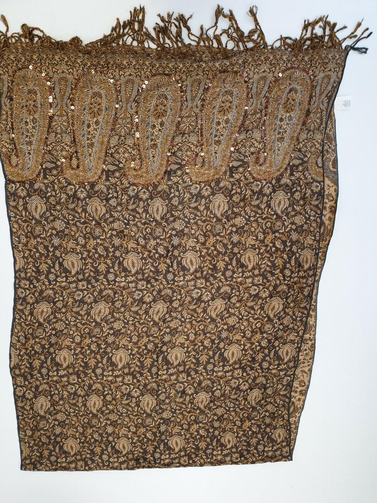 R489 mujer marrón amarillento Laura Ashley patrón Grande Bufanda de cuello/cabeza 78