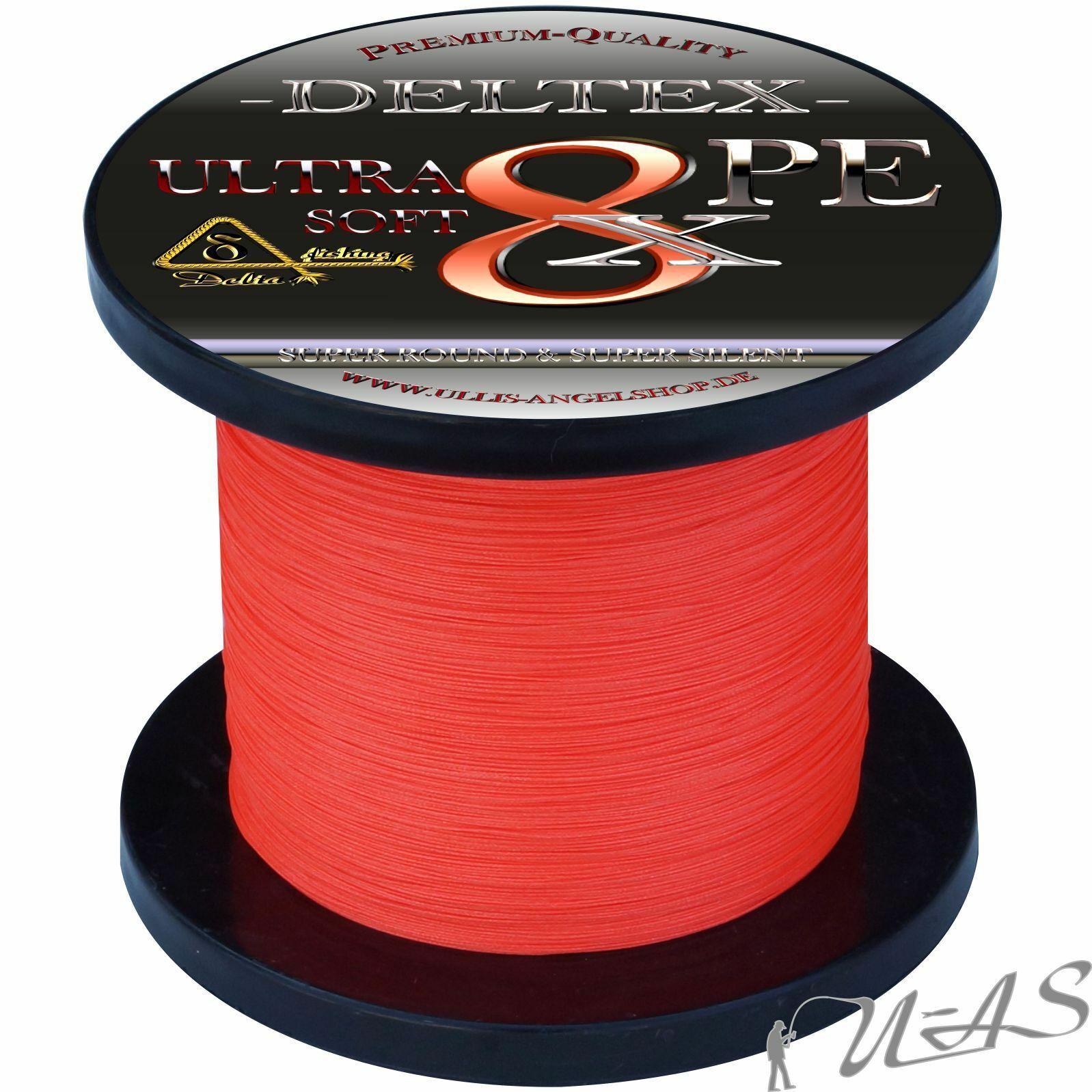 DELTEX Ultra Soft Rot 0,25mm 19.10kg 1000M 8 fach Geflochtene Angelschnur Kva
