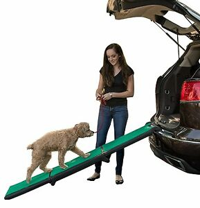 Pet-Gear-Tri-Fold-Dog-Pet-Vehicle-Car-SUV-Ramp-with-supertraX-Black-Green