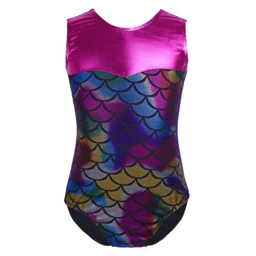 Girls Gymnastic Leotard Unitards Kids Ballet Dancewear Mermaid Biketard Bodysuit