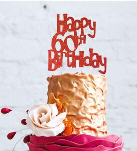 Fine Happy 60Th Birthday Cake Topper Glittery Red 60 Cake Topper Ebay Personalised Birthday Cards Sponlily Jamesorg
