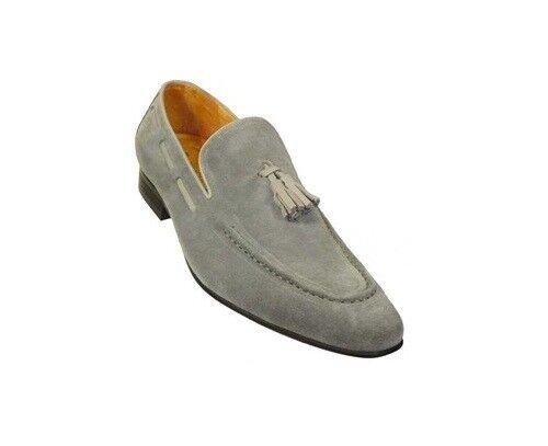 Hecho a mano Hombres gris Zapatos De Gamuza, Hombres Mocasín Mocasines, Vestido formal calzado para hombre