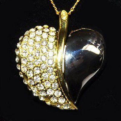 Buono Chiavetta Usb 8 Gb Cuore Gioielli Ciondolo Catena Strass Oro E Argento-colorate Heart- Per Produrre Un Effetto Verso Una Visione Chiara