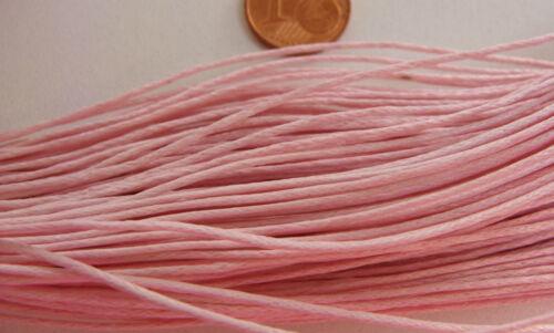 Echeveau 75m fil coton ciré 1mm ROSE cordon lacet DIY bijoux déco loisirs