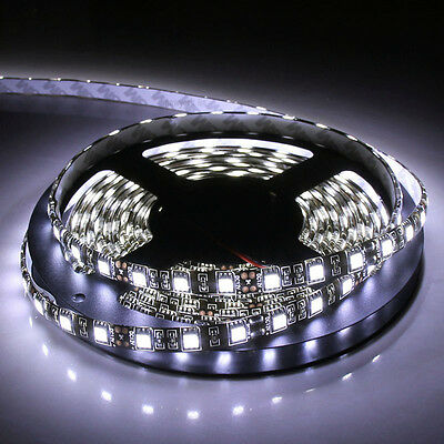 PCB Black 5m 500cm 5050 Cool White SMD 300LED Waterproof Flexible Light Strip