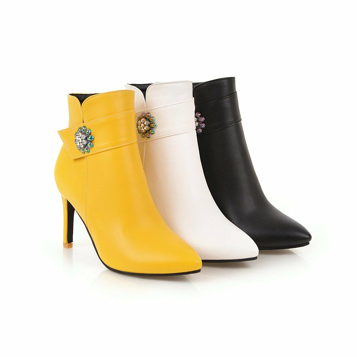 Womens High Heel Pointed shoes Zip-Up Synthetic Leather Ankle Boots US Size 214