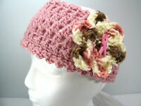 Crocheted Head Wrap Ear Warmer Hat Cap With Pink Ribbon Cancer Button
