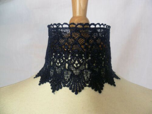 Navy Blue Lace Choker Victorian Necklace Medieval Pagan Steampunk Gothic Wedding