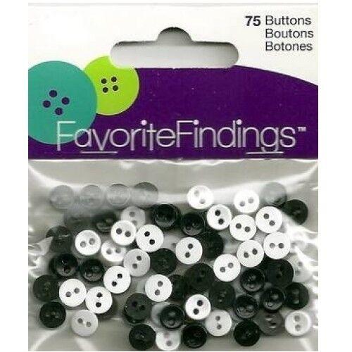 *NEW* FAVORITE FINDINGS MINI BLACK /& WHITE BUTTONS PKG OF 75