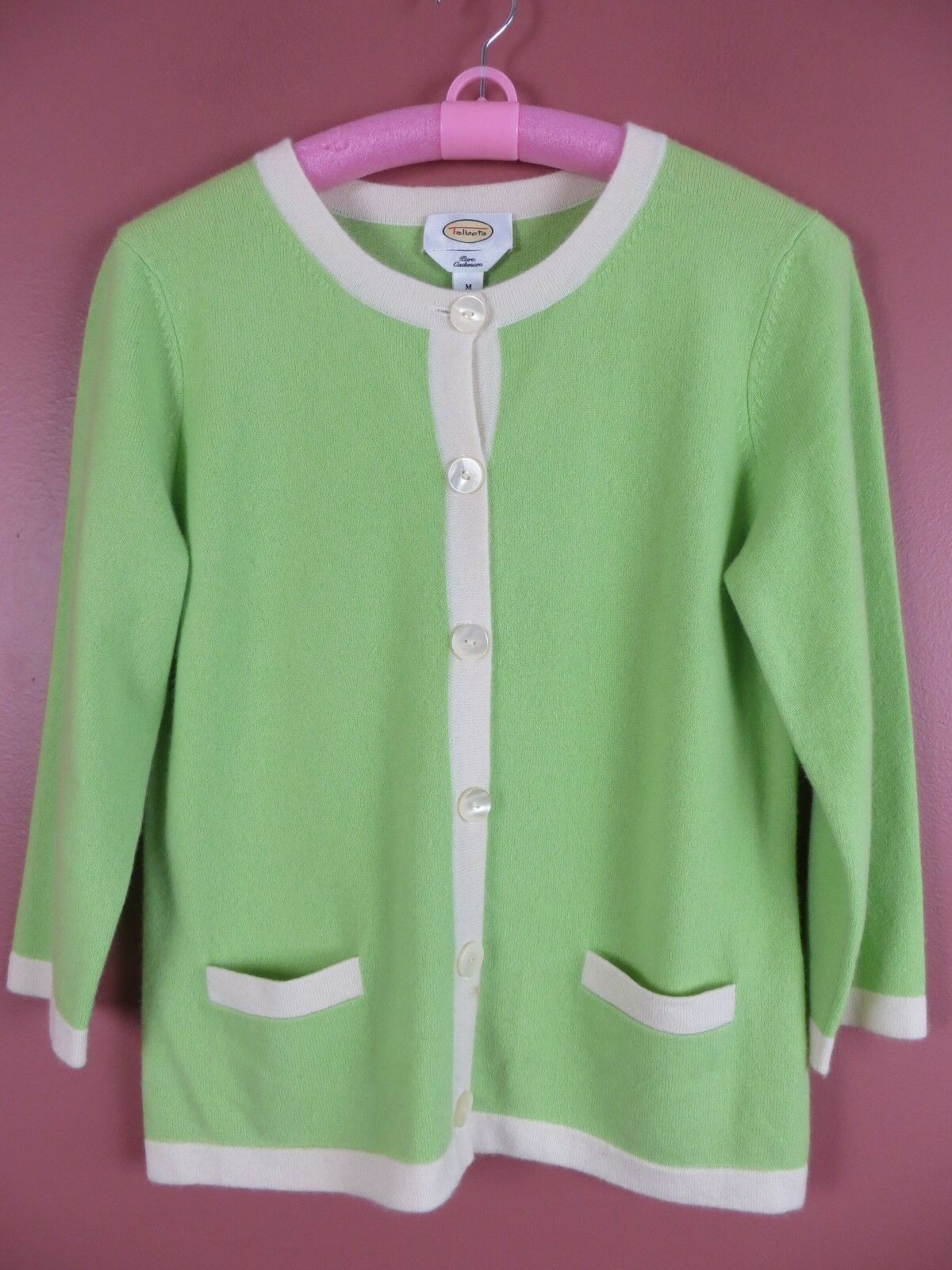 CSM01661- TALBOTS Womens Pure Cashmere Cardigan Sweater Green Ivory Sz M MINT