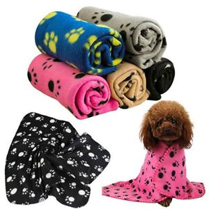 Small-Puppy-Print-Cushion-Paw-Bed-Large-Dog-Soft-Pet-Blanket-Fleece