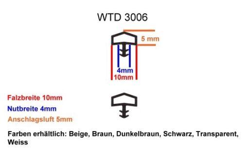 WTD 3006 50m Zimmertürdichtungen 5m Nutbreite 4mm-Falzbreite:10mm-6 Farben