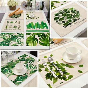 Non Slip Cotton Linen Foliage Coaster Placemat Table Mats Home Decor Plate Pad