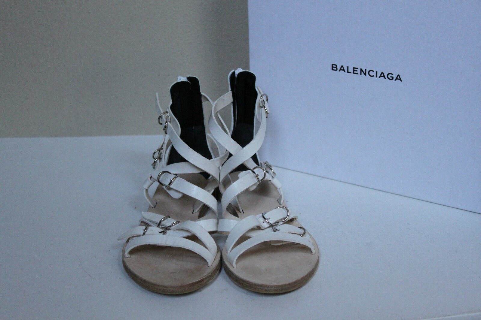 New Balenciaga Bickle bianca Leather Gladiator Ankle Ankle Ankle Sandals scarpe sz 9.5   39.5 bcd328