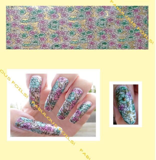 1 + 2 free AQUA MAUVE FLORAL transparent nail transfer foil. Buy 4 get free foil