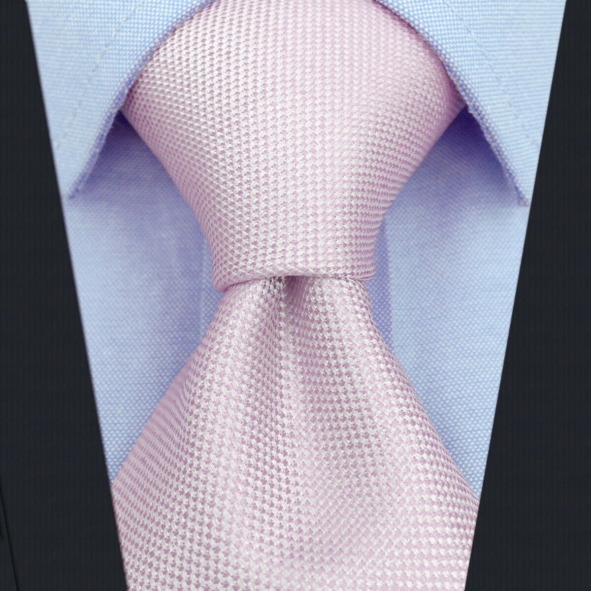 S&W SHLAX&WING Neckties for Men Solid Pink Classic Wedding Party Silk